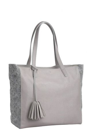 Scandi Tote - Flower Party - grey  Available in two neutral shades and embellished with a metallic bronze  stripe and trim details. This tote takes a simple silhouette and makes everyday sophistication effortless.