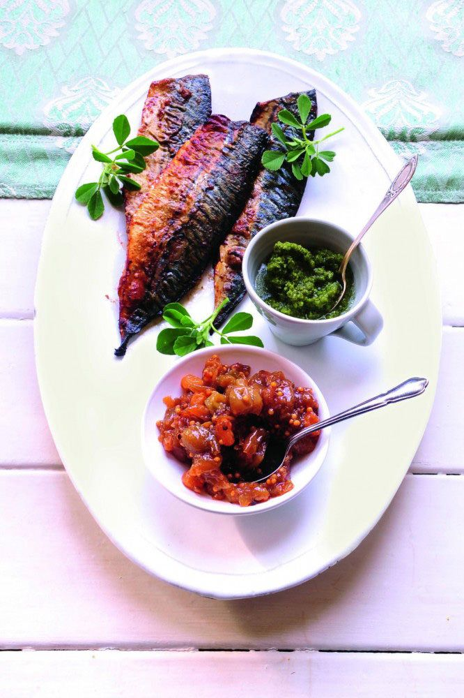 Gooseberry chutney two ways, with marinated mackerel
