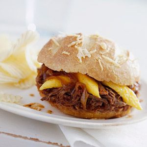 Tangy Barbecue Beef. Because brisket benefits from long cooking time, cook it on low heat in a crockery cooker for these beefy sandwiches. Makes: 8 servings  Prep: 25 mins  Crock Pot Slow Cooker: 10 hrs to 12 hrs  Stand: 15 mins
