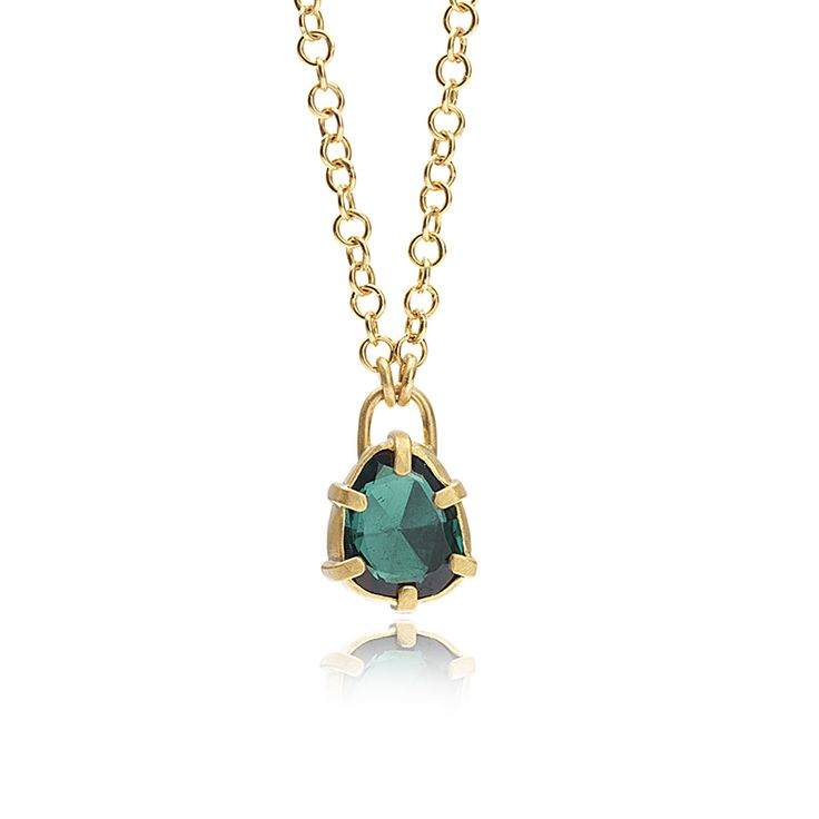 SIX-PRONG GREEN TOURMALINE PENDANT NECKLACE    24K gold with 1.80ct green tourmaline