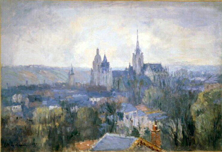 La cathédrale d Evreux, huile de Albert Charles Lebourg (1849-1928, France)