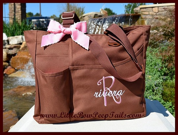 Personalized Monogrammed Disney Minnie Mouse Pink Flower Baby Duffel Diaper  Bag Gift Set with Name Embroidery