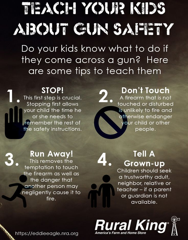 gun safety for kids Children who received instruction in gun safety were no more likely than those  who did not to heed basic rules about what to do if they came.
