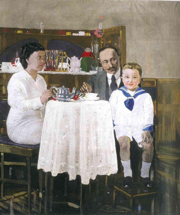 Felice Casorati,  La famiglia Consolaro Girelli o Il tè,  1916,  tempera su tela, cm 99 x 90, Fondazione Domus per l'arte moderna e contemporanea