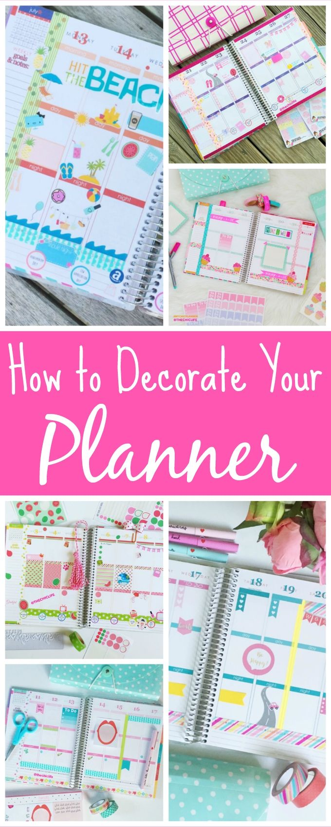 How to Decorate Your Planner - The Chic Life #mychicplanner (tips for decorating your Erin Condren Life Planner or other planner) Note: this page will be updated with new content over time so check back often!