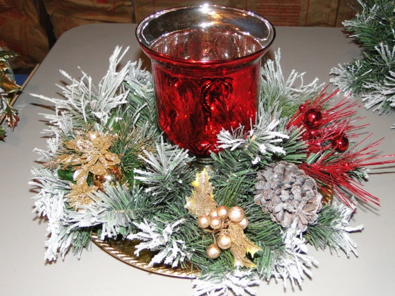 Red Glass Candle Holder Christmas Centerpiece by LilaEveCrafts, $45.00
