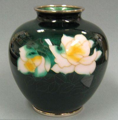 Cloisonne White Roses on Ginbari Green Vase 6''H New $692 Japan