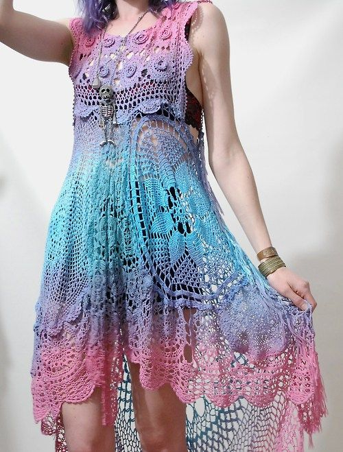 Ombre crochet lace dress~CRUX AND CROW - pinning for colour ideas