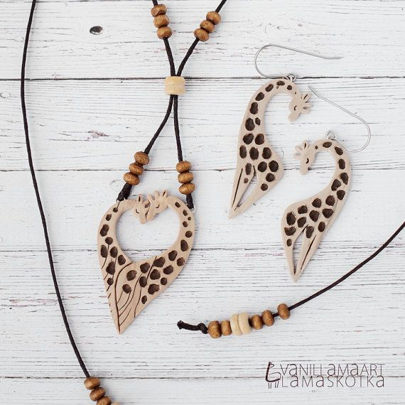 Mooie giraffen sieraden Set ketting oorbellen door VaniLlamaArt