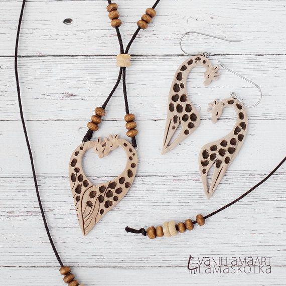 Lovely Giraffes Jewelry Set Necklace Earrings by VaniLlamaArt