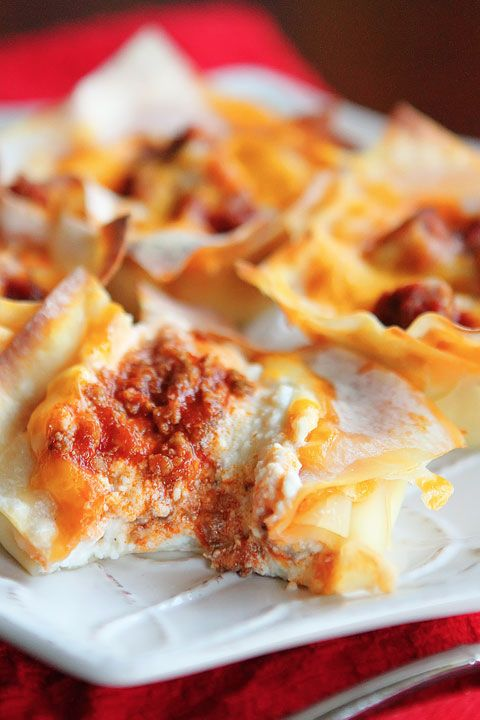 Mini Lasagna Cups. Adorable mini lasagnas made with wonton wrappers in a muffin tin! Everyone can customize their own filling!