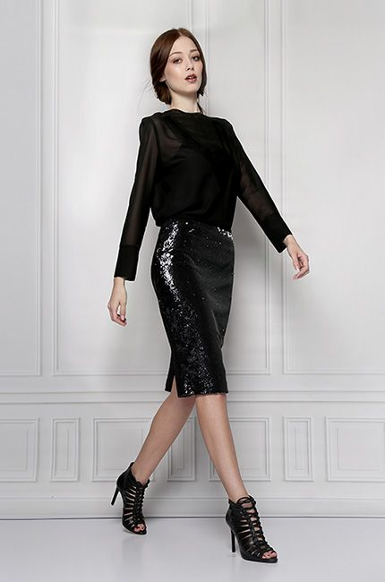 black sequins skirt furelle