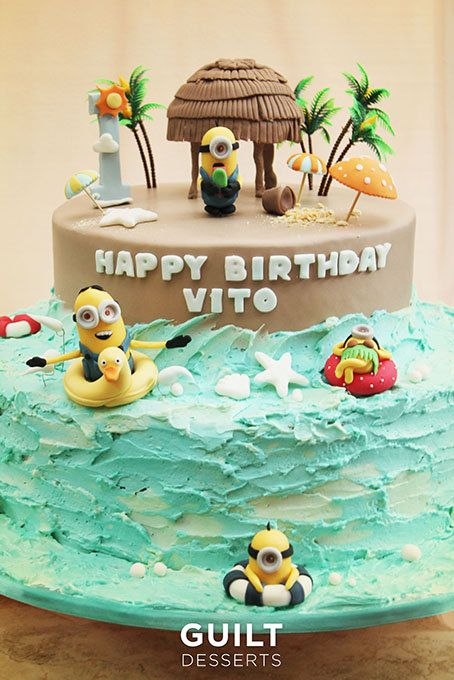 Minions Beach Party! - by guiltdesserts @ CakesDecor.com - cake decorating website