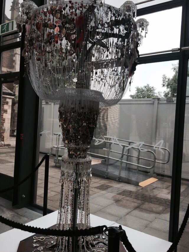 Chandelier from found jewellery. Scunthorpe 20-21 visual arts centre