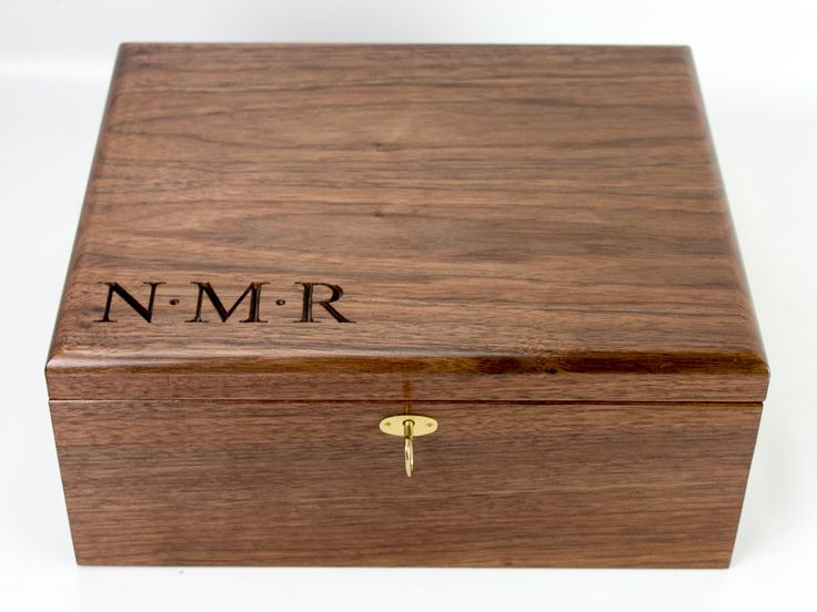 Large Keepsake box in black walnut with lockset.  Personalized with carved initials.