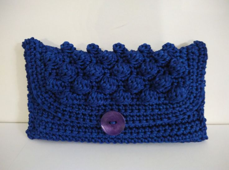 crochet clutch purse, blue sax with cord yarn by yrozafcrocheting on Etsy