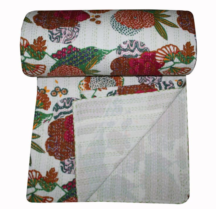 kantha quilt throw blanket bedspread bed cover cotton bedding white color #Handmade #Traditional