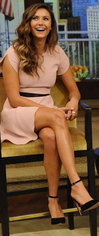 Who made Nina Dobrev's pink dress, black pumps, and jewelry that she wore in New York on August 4, 2014
