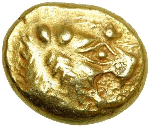 Kingdom of Lydia. Time of Alyattes to Kroisos, c. 600-560 BC. Electrum Trite (or Third Stater; 4.72 g). AEF Lion's head right, with globular wart on nose. Incuse square. Rosen 656; Boston MFA 1764; Dewing 2421. Rare. One of the earlier electrum pieces to portray an animal. Electrum is a native mixture of silver and gold, and found in the alluvial streambeds of Asia Minor, where coinage began. Estimated Value $2,500 - 3,000. #Coins #Gold #Ancient #MADonC #WartsOnNose