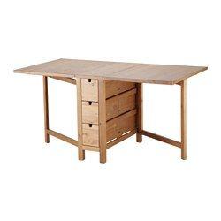 IKEA - НОРДЕН, Стол складной, Шесть удобных ящиков под столешницей для хранения столовых приборов, салфеток и свечей.Стол с откидными полами на 2-4 человек; размер стола можно регулировать.