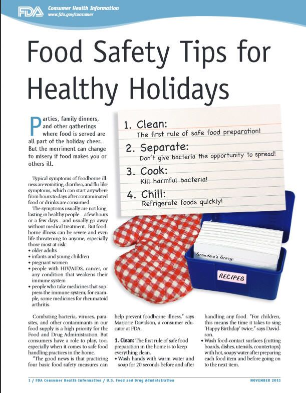 FDA food safety tips for #healthy #holidays Happy Healthy Holidays