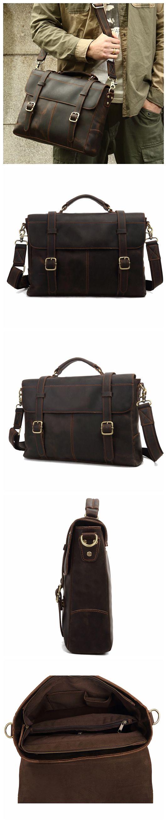ROCKCOW Crazy Horse Leather Briefcase Messenger Bag Laptop Bag For Men 8657
