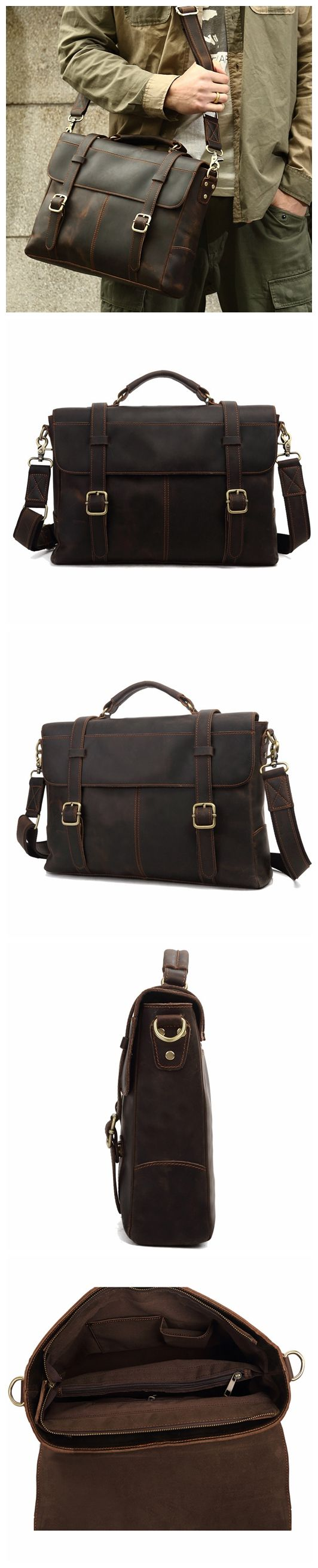 ROCKCOW Crazy Horse Leather Briefcase Messenger Bag Laptop Bag For Men 8657