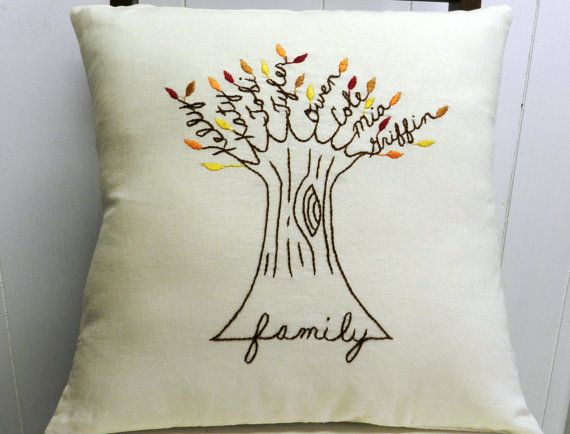 Personalized Family Tree Pillow Cover makes a great gift! This unique pillow cover has hand embroidered names of each family member and the base or root of the tree spells FAMILY. Celebrate the ones we love and those that keep us grounded. The word family may be replaced with another language or word of your choice (I.e. Familia, grandma, mother, etc.) ** Current Turnaround Time is 1-2 weeks. All shipping is USPS priority if located in the US. International shipping is first class with…
