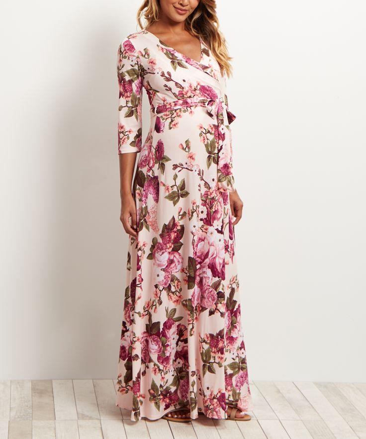 $39 PinkBlush Pink Floral Maxi Maternity Dress