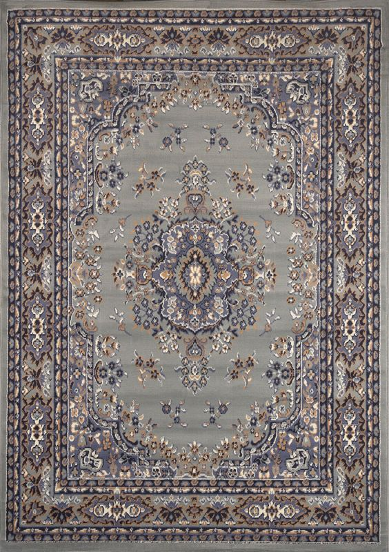 Traditional Persian Silver Area Rug Border Oriental Multi Color Carpet