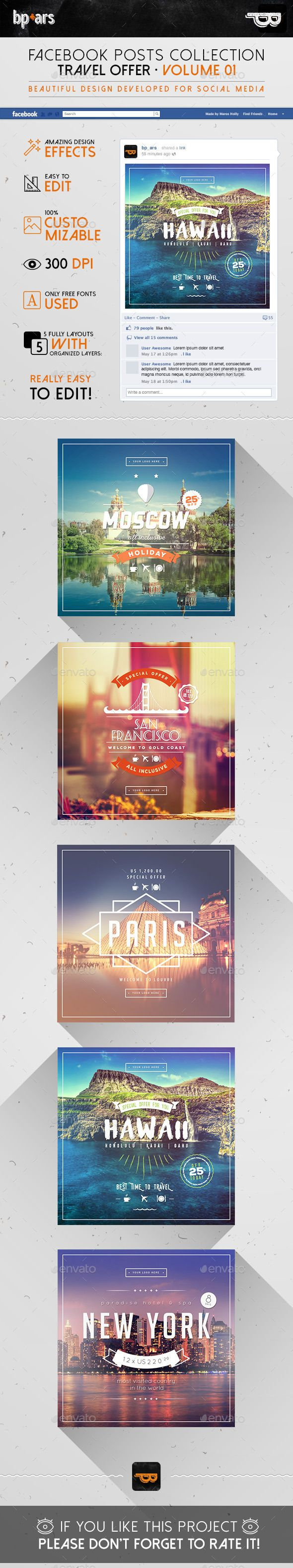 5 Facebook Banners Posts | Travel Offer Template #design #ads Download: http://graphicriver.net/item/5-facebook-banners-posts-travel-offer-vol-i/12743886?ref=ksioks