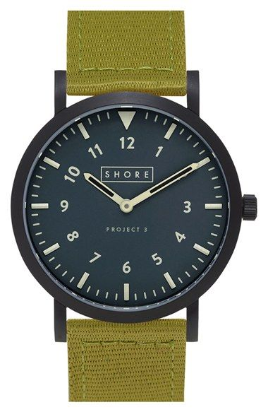 Free shipping and returns on Shore Projects 'Morecambe' Leather Strap Watch…