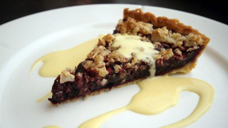 Blåbær pai med hjemmelaget vanilje saus