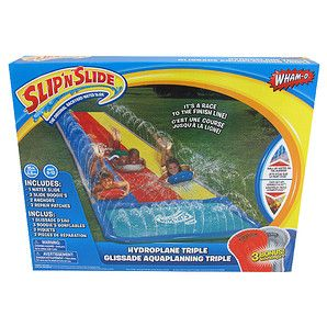 Wet and wild, the Hydroplane Triple Slip 'N Slide is a must have cool-down item for the warmer months! Includes a waterslide, three super boogies, two...