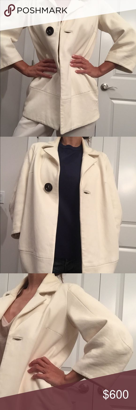 Off White Dsquared jacket 100% Lamb Leather, Size XS-S (for an oversized look) and M as a fitted coat, Three-quarters sleeves, one button at front, two big pockets. Condition: New without tags. Cool design, perfect for spring, summer evenings and autumn. DSQUARED Jackets & Coats Blazers