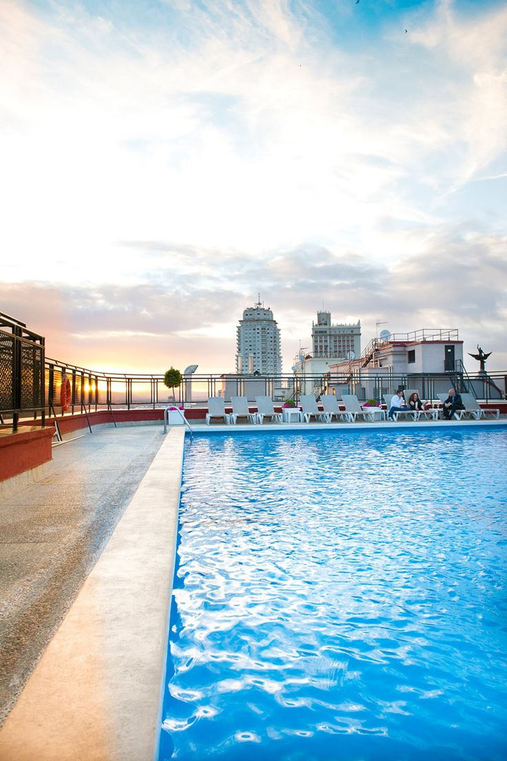 If you fancy hitting the heights and plumbing the depths simultaneously, check the rooftop swimming pool and bar at the lofty Hotel Emperador, open to non-residents for a fee. Hotel Emperador Madrid, Rooftop Terrace, Cool Pools, In The Heights, Trip Advisor, Swimming Pools, Around The Worlds, Explore, City