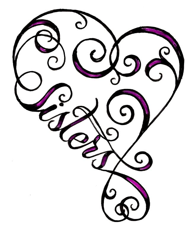 heart sister tattoo @Christina Childress Childress Childress Childress Childress Jones. Again, I need to create a board for the things that remind me of you! Especially since I don't have a sister. ;)