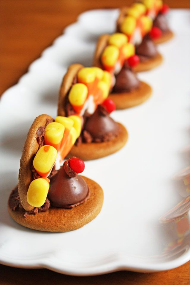 Turkey Cookies-- ginger snaps, Hershey kiss, candy corn, red hot ...