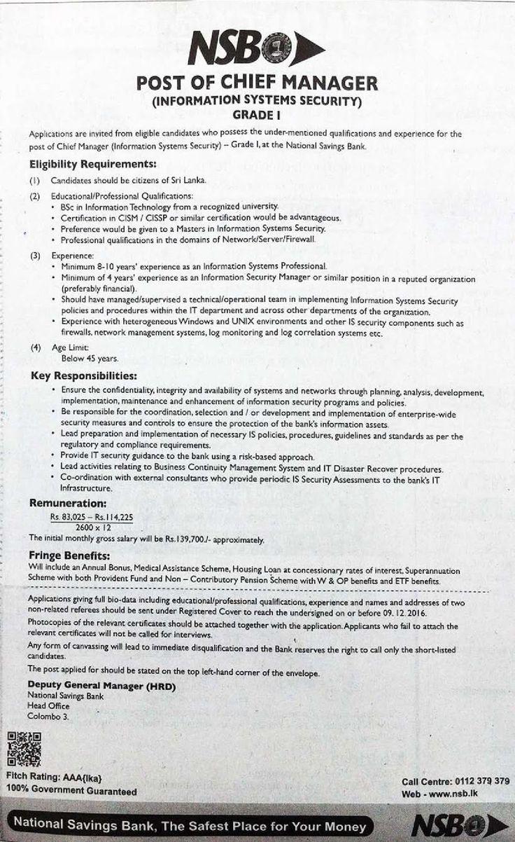 Sri Lankan Government Job Vacancies at National Savings