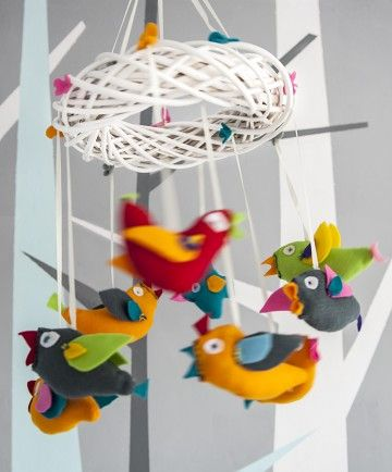"""""""Noisy"""" colourful mobile for nursery or modern living room."""