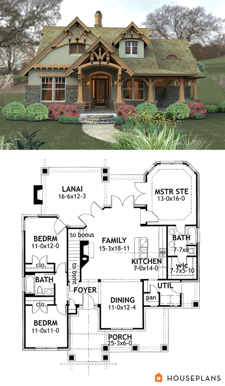 Craftsman Style House Plan - 3 Beds 2.00 Baths 1421 Sq/Ft Plan #120-174 | Pinterest | Mountain house plans Mountain houses and Craftsman  sc 1 st  Pinterest & Craftsman Style House Plan - 3 Beds 2.00 Baths 1421 Sq/Ft Plan #120 ...