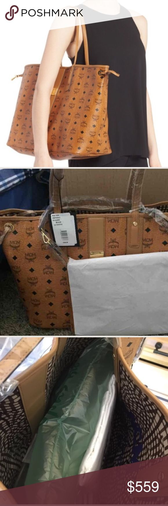 MCM large new liz tote and pouch This is a brand-new with tags MCM large Liz shopper. Includes the duster and pouch. It is still wrapped in plastic. FYI : I have sold many brand-new MCM bag so check my Feedback. At least half of the MCM bags on here are fake so check your sellers feedback and feel free to tag me if you need help. My price is firm and I do not trade MCM Bags Totes