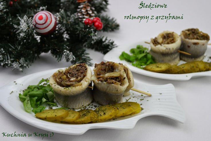 Kuchnia u Krysi  : Śledziowe rolmopsy z grzybami