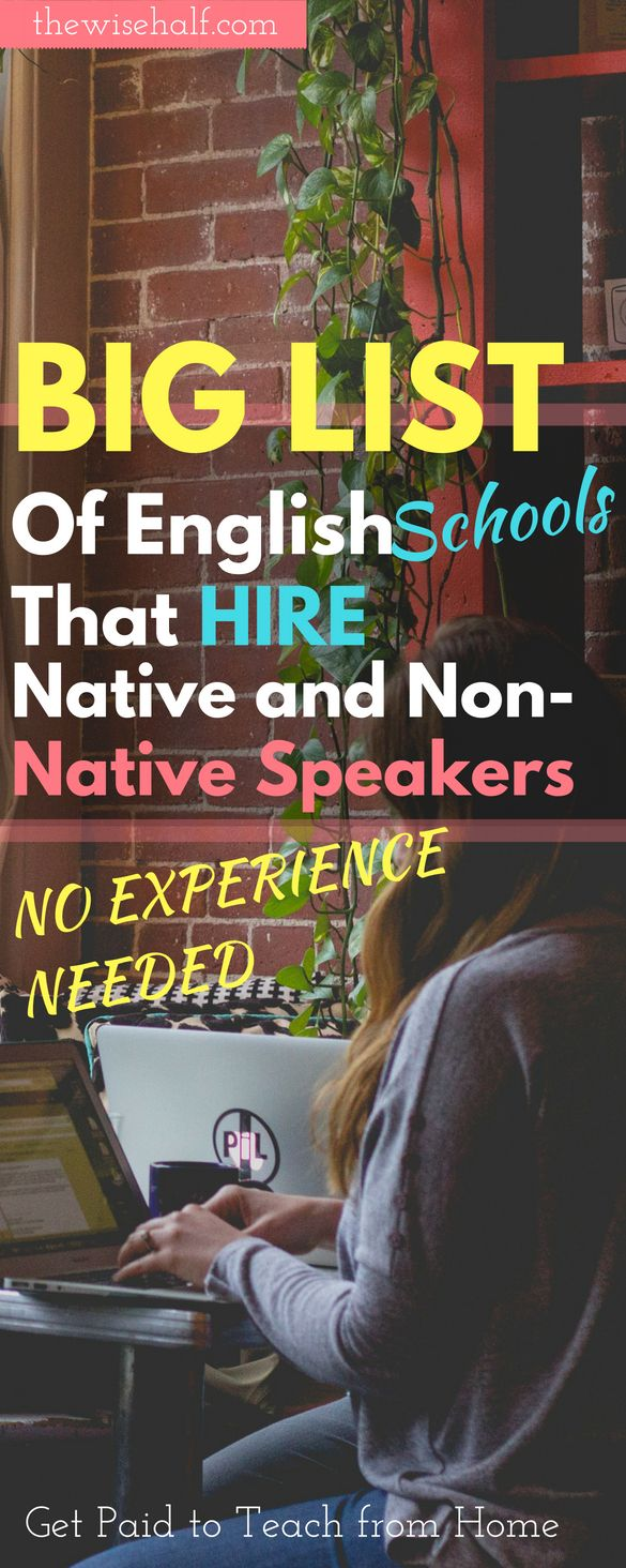 Big List Of Online English Schools for Native and Non-Native Speakers.