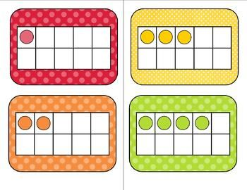 heres a set of color coordinated ten frames and number cards from