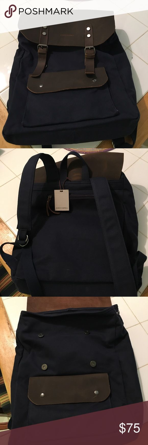 """James Campbell backpack Navy canvas w brown leather flap and pocket. Padded shoulder straps, two zip pockets inside. Adj sides and flap. NWT. Slight marks on leather as seen in pics. 18"""" h 14"""" w 5"""" d James Campbell Bags Backpacks"""