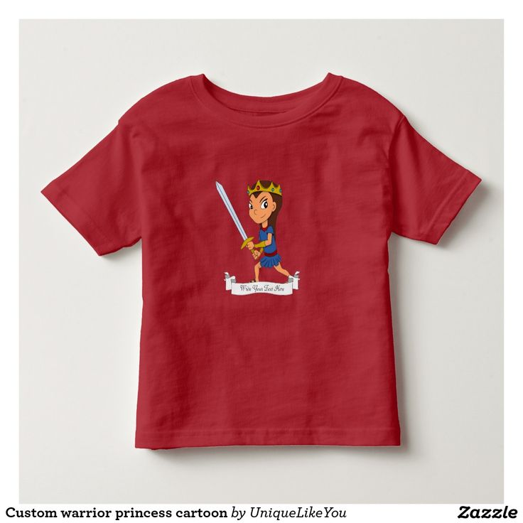 Custom warrior princess cartoon toddler t-shirt