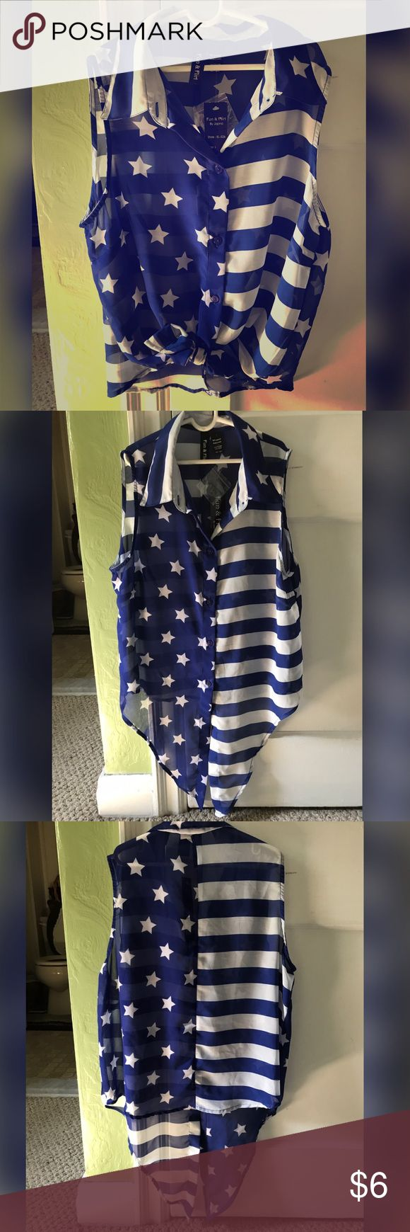 ❣️🌺🇺🇸 American flag theme tie shirt 🇺🇸🌺❣️ Stars and Stripes pattern shirt. White and blue. Crop top tie front. I showed pictures of it tied and not tied.. super cute shirt. Transparent. Shows a little of the strings coming out of shirt like in the last photo.. shirt is brand new never worn! Fun & Flirty Tops Crop Tops