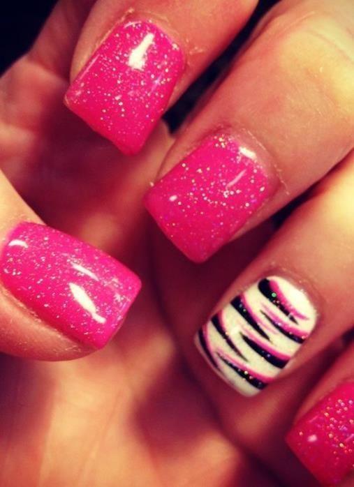 Zebra Print Nails Design,zebra-stripe nails for girls,Orange and Black Zebra Print Nails Art for 2013 Fall/Winte