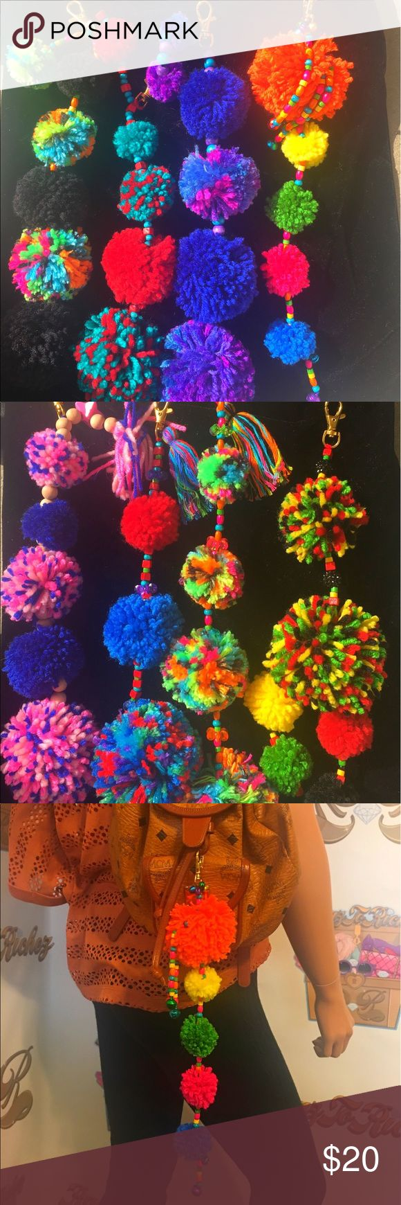 Pom Pom handmade Keychains Up for sale are these handmade Pom Pom keychains that are a great statement piece to your purse or keys ( mcm bag not included)  Accessories Key & Card Holders
